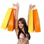Beautiful girl with shopping — Stock Photo