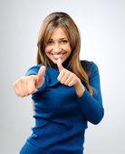 Happy thumbs up woman — Stock Photo
