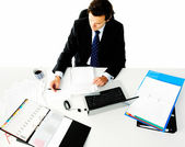Overhead view of office worker — Stock Photo