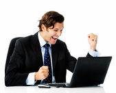 Office worker winning! — Stock Photo