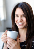 Enjoying a hot drink — Stock Photo