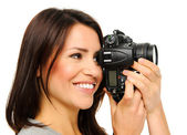 Pretty woman taking pictures — Stock Photo