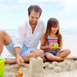 Happy sand castle child — Stock Photo
