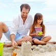 Happy sand castle child — Stock Photo #28400435