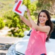 Driver girl proud of passing test — Stock Photo #28402451