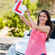 Stock Photo: Learner driver happy