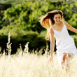 Skipping beauty outdoors — Stock Photo