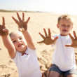 Sandy beach kids — Stock fotografie