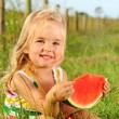 Smiling child with watermelon  — Stock Photo