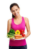 Woman with healthy vegetarian food diet — Stock Photo