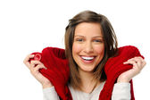 Woman in red cardigan smiling — Stock Photo