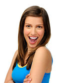 Excited girl laughs towards camera — Stock Photo