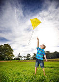 Ambitious boy flying kite — Stock Photo