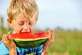 Hungry boy with watermelon outdoors — Stock Photo