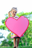 Child with paper heart — Stock Photo