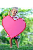 Child with paper heart — Foto Stock