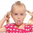 Stock Photo: Silly little girl with pigtails