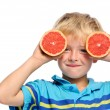 Peeking with fruit — Stock Photo