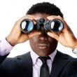 Binocular african man — Stock Photo