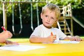 Preschool drawing art class — Stock Photo
