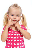 Young girl plays in studio — Stock Photo