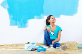 Blue paint portrait — Stock Photo