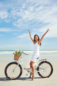 Bike beach babe — Stock Photo