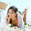 Beach relaxing woman — Stock Photo