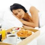 Breakfast in bed service — Stock Photo