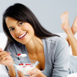 Healthy breakfast woman — Stock Photo #28422475