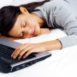 Sleeping on computer woman — Stock Photo