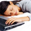 Sleeping on computer woman — Stockfoto