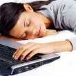 Sleeping on computer woman — Stock Photo #28422717