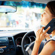 Driving phone woman — Stock Photo