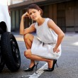 Flat tire woman — Stock Photo
