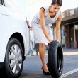 Flat tire woman — Stock Photo #28423065