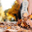 Autumn runner feet — Stock Photo