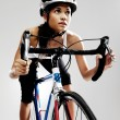 Road racing bicycle woman — Stock Photo