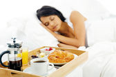 Breakfast in bed service — Stock Photo