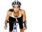 Oldukça aktif bisikletçi st bir yol bisiklet gidon tutma — Stok fotoğraf