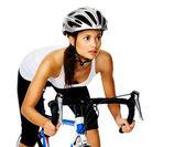 Woman cyclist — Stock Photo