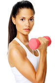 Dumbell bicep exercise — Stock Photo