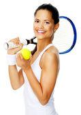 Happy tennis portrait — Stock Photo
