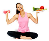 Vegetable exercise woman — Stok fotoğraf