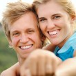 Smiling joy happy blonde couple — Stock Photo #28451395
