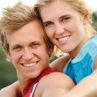 Smiling joy happy blonde couple — Stock Photo #28451511