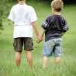 Brothers hold hands in field — Stock Photo