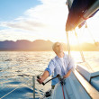 Sunrise sailing boat — Stock Photo #28452143