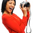 Photographer with vintage camera — Stock Photo