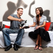 Domestic abuse shadow play family and social issue — Stock Photo #28453719